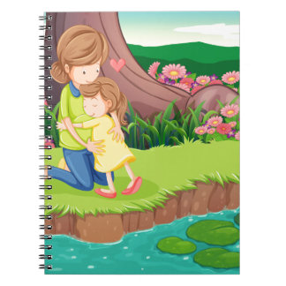 A mother hugging her daughter at the riverbank spiral notebook