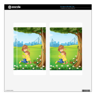 A mother hugging her daughter under the tree decals for kindle fire