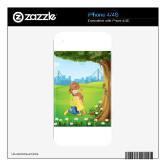 A mother hugging her daughter under the tree decals for the iPhone 4
