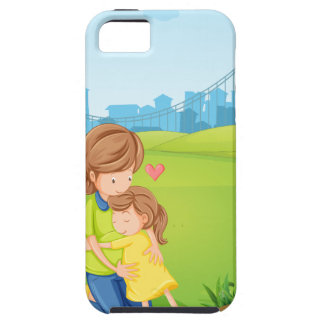 A mother hugging her daughter under the tree iPhone SE/5/5s case