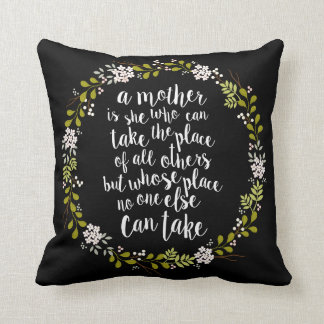 A Mother Is Everything Quote Woodland Wreath Throw Pillow