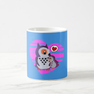 A mother owl hugging its daugther coffee mug