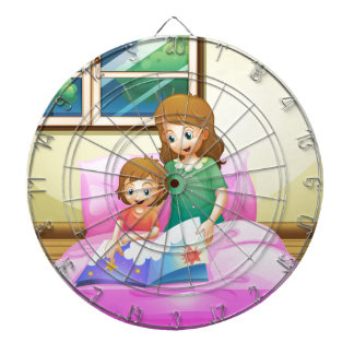 A mother reading with her daughter dartboard