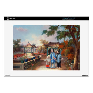 A mother with her children in a chinese garden, c. decals for laptops