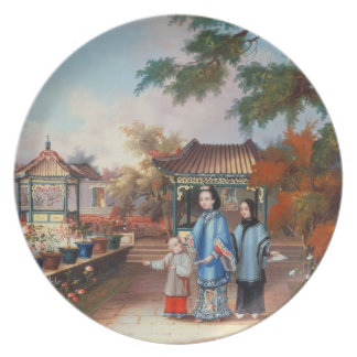A mother with her children in a chinese garden, c. dinner plate