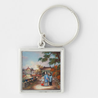 A mother with her children in a chinese garden, c. keychain