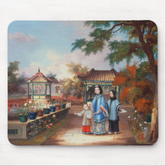 A mother with her children in a chinese garden, c. mouse pad