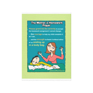 A Mother's Homework Prayer Canvas (pale green) Canvas Print