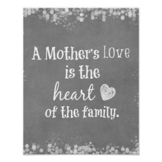 A Mother's Love is the Heart of the Family Quote Poster