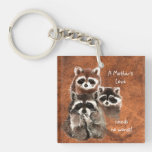 A Mother's Love Needs no Words Cute Raccoon Family Square Acrylic Keychain