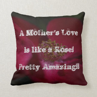 A Mother's Love - Red Rose Throw Pillow