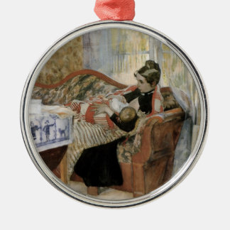A Mother's Thoughts of Nursing Baby Round Metal Christmas Ornament