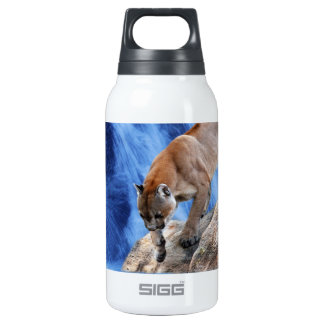 A mountain lion at the waterfall insulated water bottle