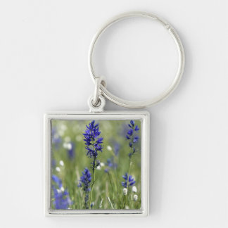A mountain meadow of wildflowers including Silver-Colored square keychain