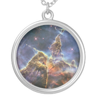 A mountain of dust and gas in the Carina Nebula Round Pendant Necklace