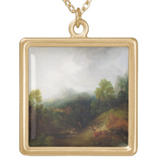 A Mountain Valley with Rustic Figures, c.1773-7 (o Gold Plated Necklace