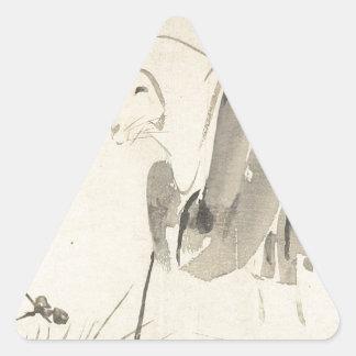 A Mouse as a Monk by Shibata Zeshin Triangle Sticker