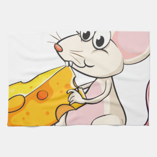 A mouse eating cheese kitchen towels