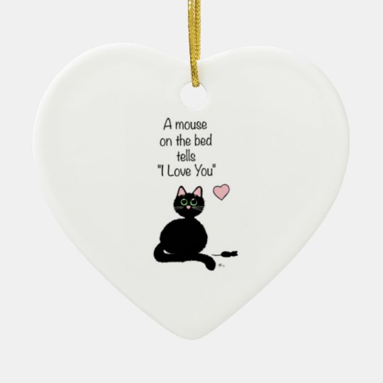 """A mouse on the bed tells """"I love you"""" ornament"""