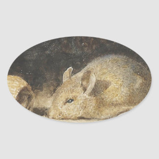 A mouse with a peanut by Albert Anker Oval Sticker