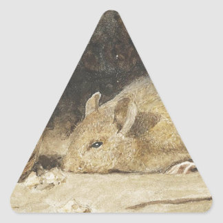 A mouse with a peanut by Albert Anker Triangle Sticker