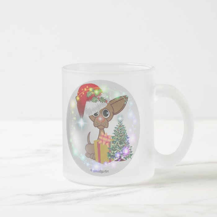 A Mousy Dog Christmas Frosted Glass Coffee Mug
