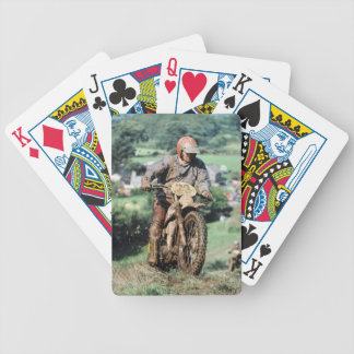 A muddy scrambler on a Welsh hillside Bicycle Playing Cards