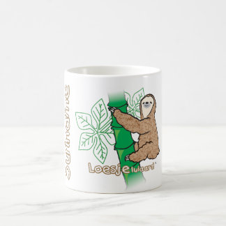 A mug with an image of a sloth on it