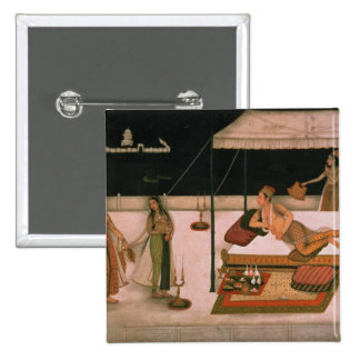 A Mughal prince receiving a lady at night 2 Inch Square Button