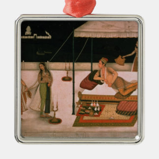 A Mughal prince receiving a lady at night Metal Ornament