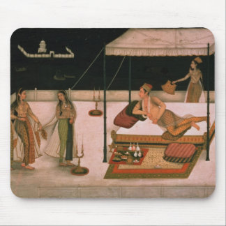 A Mughal prince receiving a lady at night Mouse Pad