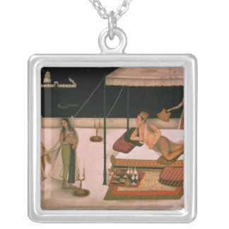A Mughal prince receiving a lady at night Square Pendant Necklace