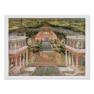 A Mughal Princess in her Garden (gouache on paper) Poster