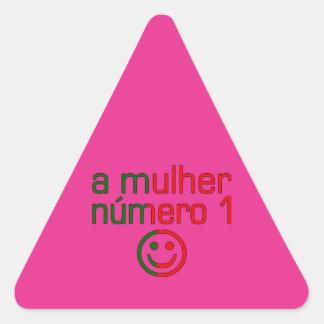 A Mulher Número 1 - Number 1 Wife in Portuguese Triangle Sticker