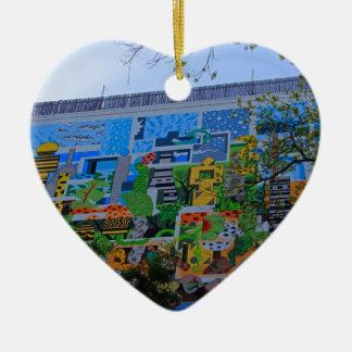 A Mural on the San Antonio Riverwalk Ceramic Ornament