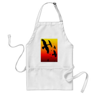 A Murder of Crows Against A Haunting Sunset Adult Apron