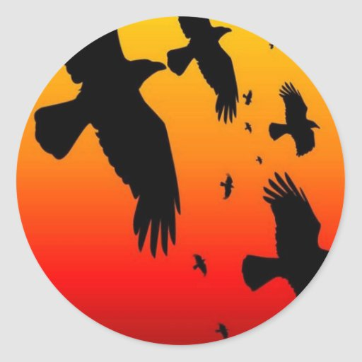 A Murder of Crows Against A Haunting Sunset Classic Round Sticker