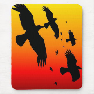 A Murder of Crows Against A Haunting Sunset Mouse Pad
