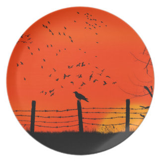 A Murder of Crows at Dusk Gothic Horror Plate