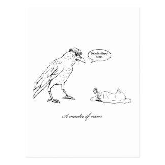 A murder of crows postcard
