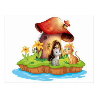 A mushroom house with two cats postcard