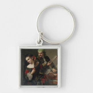 A Music Lesson, Seville Silver-Colored Square Keychain