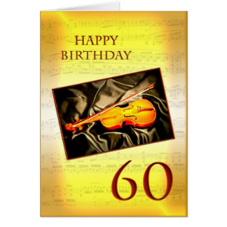 A musical 60th birthday card with a violin