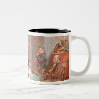 A Musical Evening (oil on canvas) 2 Two-Tone Coffee Mug