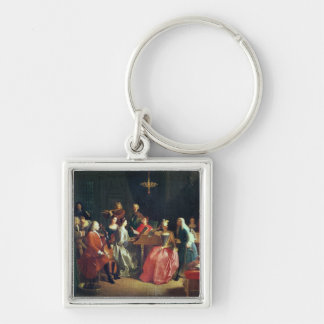 A Musical Evening (oil on canvas) Silver-Colored Square Keychain