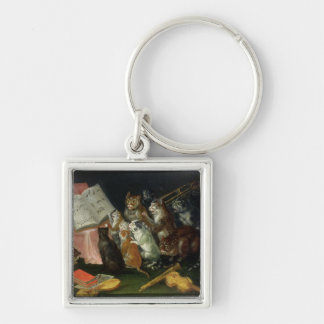 A Musical Gathering of Cats Silver-Colored Square Keychain