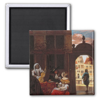 A Musical Party, 1677 2 Inch Square Magnet