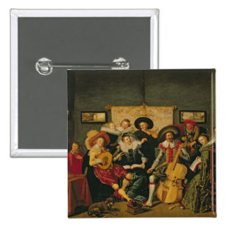 A Musical Party, c.1625 2 Inch Square Button
