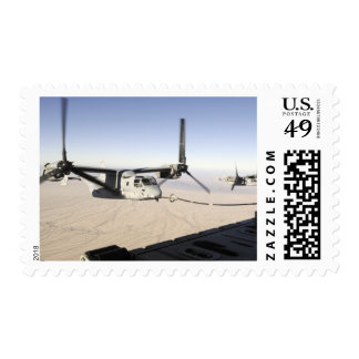 A MV-22 Osprey refuels midflight Postage