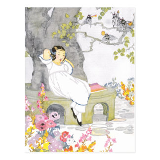 A Nap on Garden Bench Under Cherry Tree Postcard